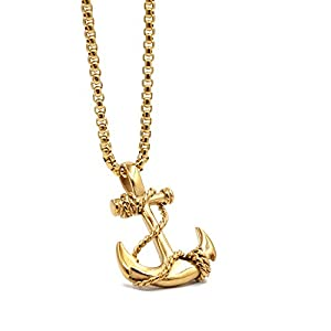 Lemu Jewelry Men's Nautical Anchor Necklace Stainless Steel Pirate Pendant Necklaces with 24 inch Chain