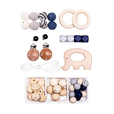 let's make DIY Wooden Teething Animal Handmade Bracelet Necklace Stroller Chain Rattle Organic Teeth Rubber Baby Teether Toys …: Toys & Games