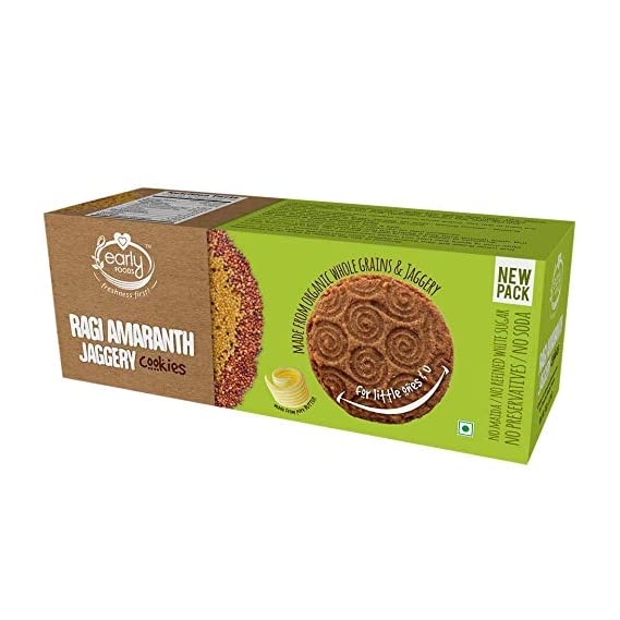 Early Foods Organic Ragi and Amaranth Jaggery Cookies - Kids Snack 150gms