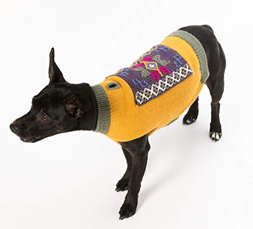 Happiness Hugs Karma Hug Dog Sweater (Gold/Sage, M) Handmade Yak Down Dog Sweaters, Softer and More Sustainable Than Cashmere, Warmer Than Merino Wool, Breathable, Fashionable and Eco-Friendly ()