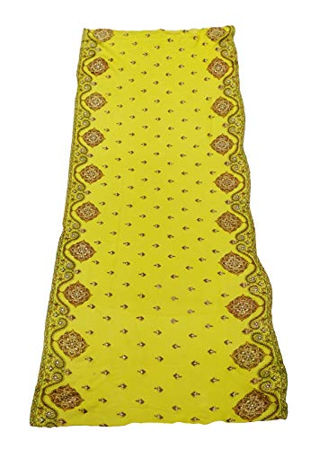 Peegli Indian Women Green Long Stole Floral Embroidered Neck Wrap Vintage Wedding Wear Dupatta Georgette Blend DIY Sewing Fabric (Best Fabric For Dupatta)