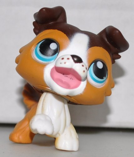 Collie #237 (Brown, Blue Eyes) - Littlest Pet Shop (Retired) Collector Toy - LPS Collectible Replacement Single Figure - Loose (OOP Out of Package & Print) (Littlest Pet Shop Loose)