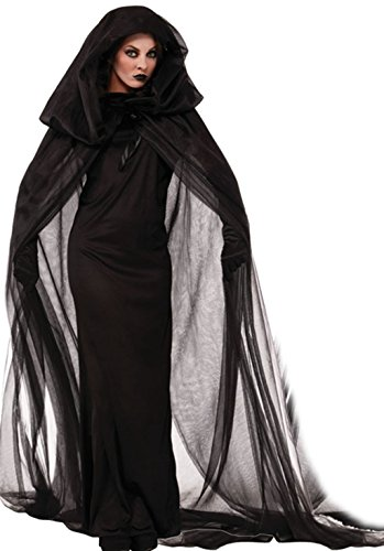 NonEcho Women Black Witch Halloween Costume for Adults 2Pc (Halloween Costume Ideas For Adult Women)