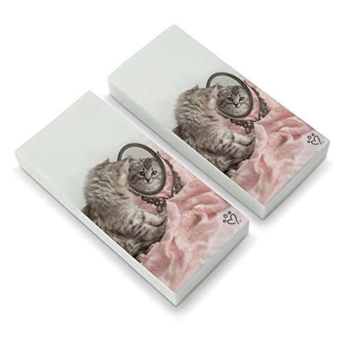 Siberian Cat Kitten Mirror Fairest of Them All Eraser Set of 2