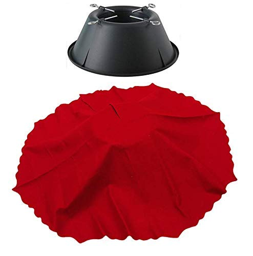 Holiday Time House Heavy Duty Fresh-Cut Christmas Tree Stand with Red Skirt