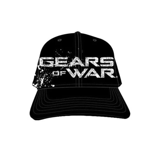 GEARS OF WAR SILKSCREENED & EMBROIDERED IMAGES MENS BLACK FLEX FIT CAP