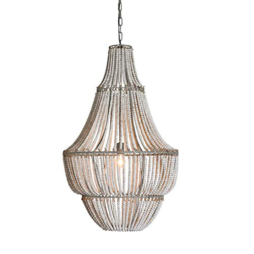 Creative Co-Op Wash Metal and White Wood Beads Chandelier ()