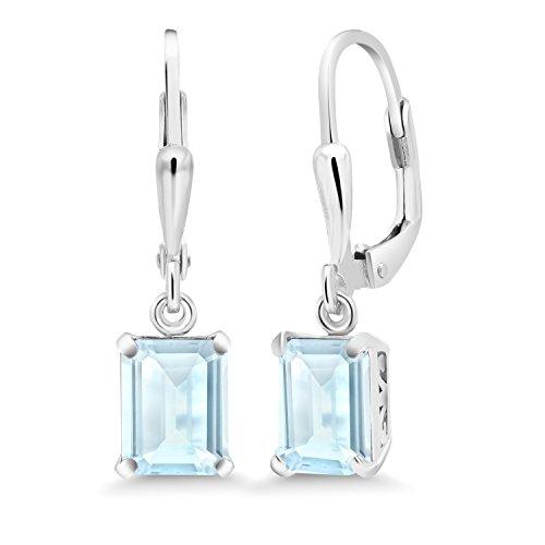 Gem Stone King 1.80 Ct Octagon Sky Blue Topaz 925 Sterling Silver Earrings