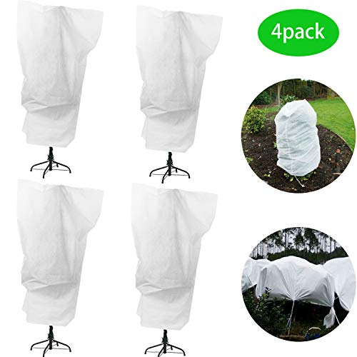 Alpurple 4 Packs Winter Drawstring Plant Covers-23.6 x 31.5 Inch Warm Plant Protection Cover Bags, Frost Cloth Blanket Protecting Fruit Tree Potted Plants from Freezing Animals Eating