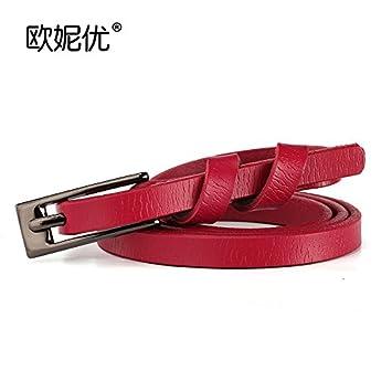Correa De Cuero Salvaje-Hebilla De Pantalón con Embellecedor con Una Delgada Cinturones De Cuero Femenino Verano Estrecho El Rojo: Amazon.es: Hogar