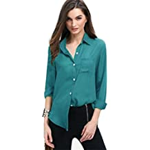 Women Chiffon Solid OL T Shirt,Luca Spring Summer Casual Long Sleeve Ladies Pocket Loose Tops