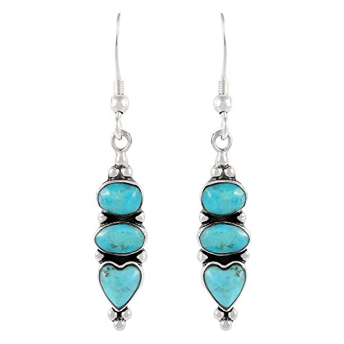 Turquoise Earrings 925 Sterling Silver & Genuine Turquoise (Select style) (3-Stone ()