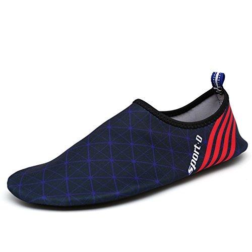 iLory Jungen und Mädchen Barfuß Aqua Wasser-Haut-Schuhe Wohnungen Pool-Schuhe Schwimmschuhe Aqua Wasser Schuhe für Kinder Blau