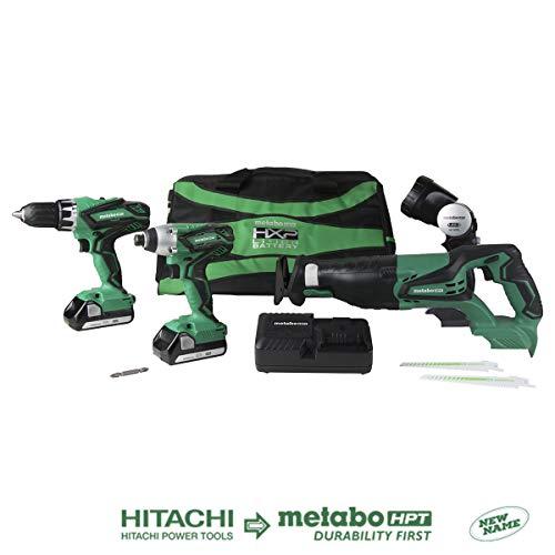 Hitachi KC18DG4LS 18V Li-Ion 4 Piece Combo Kit