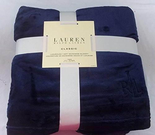 Ralph Lauren Classic Navy Blue Micromink Blanket 66 X 90