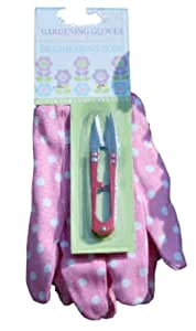 new pink & white spotted ladies gardening gloves with flower plant dead heading tool cutter