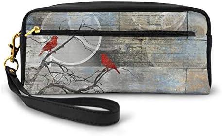 長財布 ポーチ 木の枝の鳥 レザーバッグ 化粧バッグ おしゃれ かわいい 小型バッグ ペンケース クラッチポーチ メイクポーチ