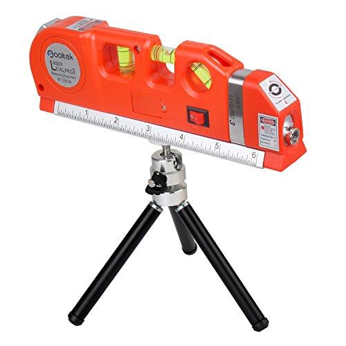 Qooltek Multipurpose Laser Level Line Laser 8ft Measure Tape Ruler Adjusted Standard and Metric with Black Metal Tripod(Red)
