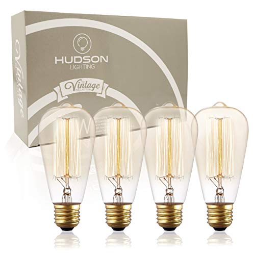- Antique Vintage Edison Bulb ST64 - Hudson Lighting 60 watt Vintage Light Bulb - ST64 - Squirrel Cage Filament - 230 Lumens - Dimmable - E26 Bulb Base – Edison Light Bulbs