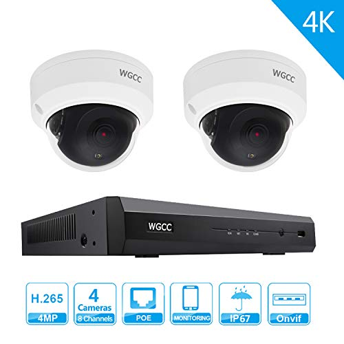 8 Channel Home Security Cameras System 1080P 8CH HDMI NVR with 2PCS 4MP IP PoE Dome Cameras ONVIF Night ()
