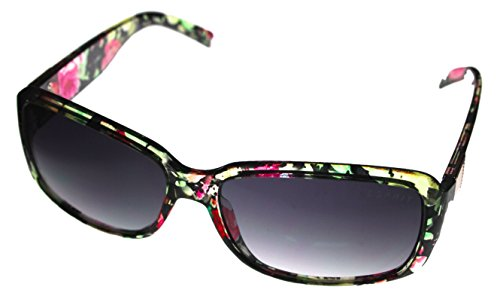 Esprit Women's ET 19452 547 Sunglasses Brown Multi Flower Fashion Rectangle Plastic (Esprit Flowers)