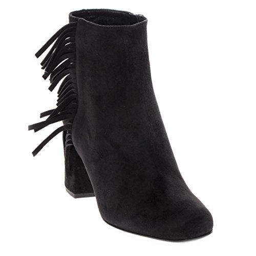 Saint Laurent Women's 'Babies' Fringed Short Block-Heel Ankle Boot Suede Black EU 39 (US 9) (Yves St Laurent Shoes)