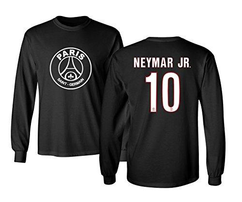the best attitude bba12 ab72f PSG Paris Saint-Germain #10 NEYMAR Jr. Jersey Shirt Soccer Football Men's  Long Sleeve T Shirt (Black,L)