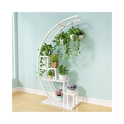 - HZTWS Flower Stand Living Room Home Flower Shelf Multi-Layer Indoor Living Room Yanghe Floor-Standing Iron Art Shaped Rack Decoration Green Dill Rosette (Semicircular) (Color : White)