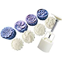 Funnytoday365 4 Style Stamps 50G Round Flower Moon Cake Mold Mould White Set Mooncake Decor Cookie Cutter Pastry Baking…