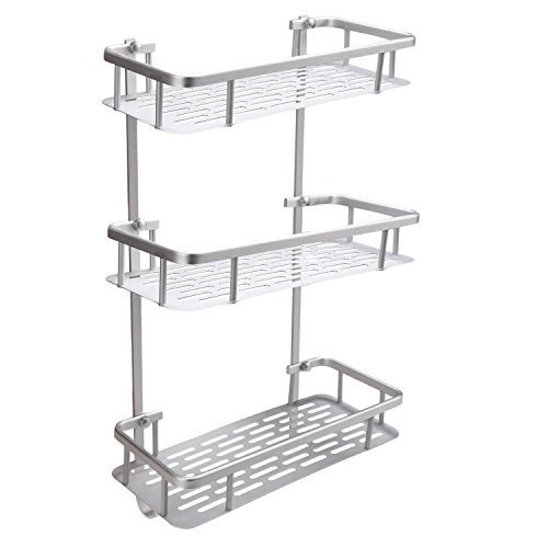 Aluminum Wall Mounted Bathroom Shower Caddy Corner Shelf (Silver) - 3
