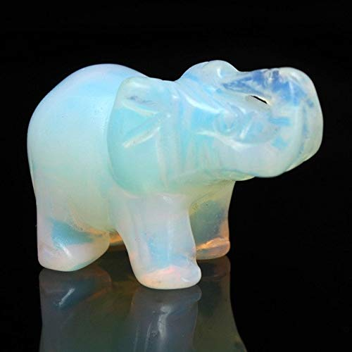 ZAMTAC Artificial Opal Hand Carved Elephant Desktop Ornament Craft Paperweight Gift Paperweight Lovely - (Color: White)
