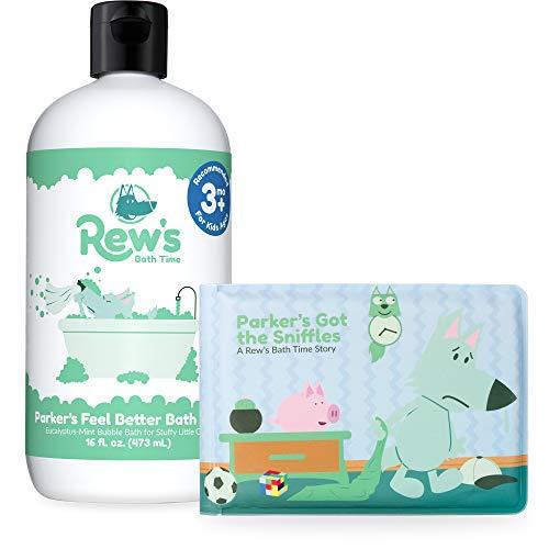Rew's Bath Time - Feel Better Natural Bubble Bath with Children's Bath Book, 16 ounce (Eucalyptus Peppermint)