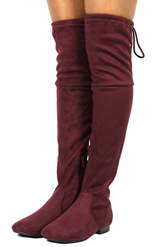 DREAM PAIRS Damenmode Casual Overknee Pull On Slouchy Boots Burgund-p