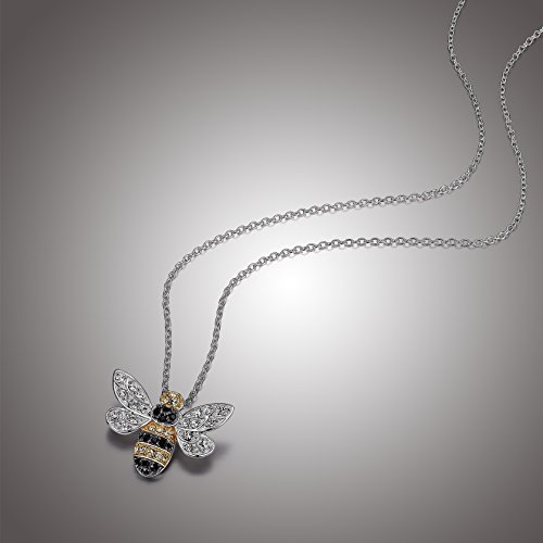 Sterling Silver Bumblebee Pendant Necklace Made with Swarovski Crystal (18