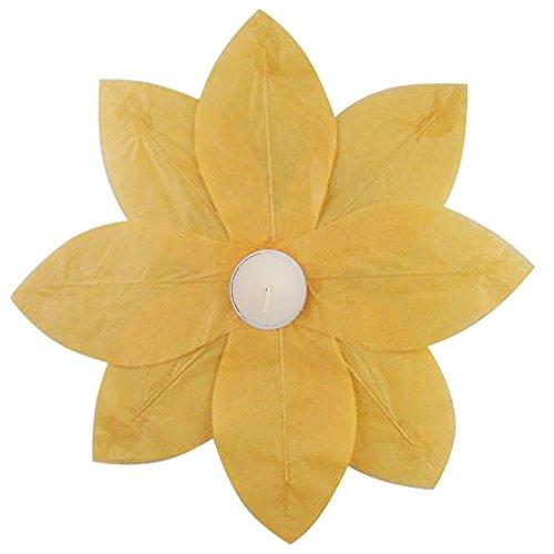 Flowers Wax Lantern - Lumabase 56706 6 Count Floating Lotus Paper Lanterns, Yellow