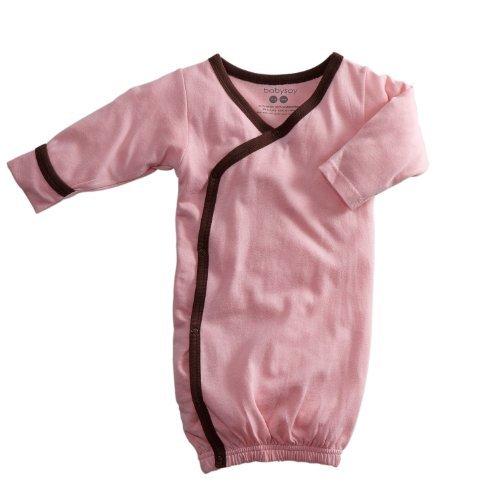 - Babysoy Baby Kimono Bundler Gown (3-6 Months, Petal/Chocolate)