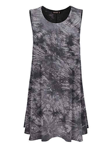 CTC WDR1077 Womens Tie Dye Round Neck Sleeveless Trapeze Dress Tunic Top S BLACK