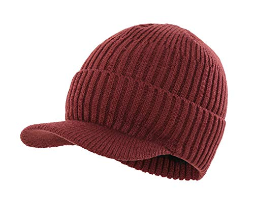 Home Prefer Men's Outdoor Newsboy Hat Winter Warm Thick Knit Beanie Cap with Visor (B-Wine -
