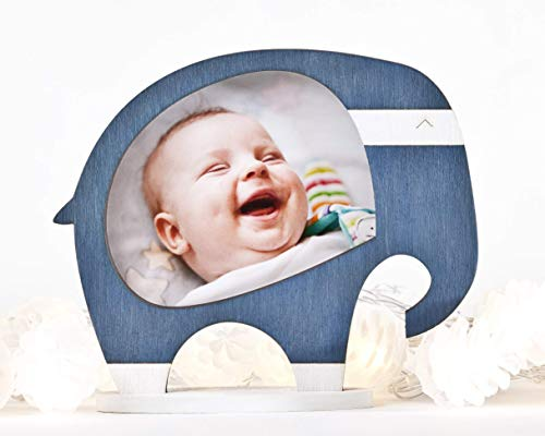 Blue Baby Picture Frame, Nursery Frame, Elephant Photo Frame, New Baby Picture Frame, Gift for New Parents