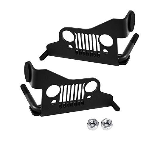 - cartaoo Foot Pegs Solid Steel Black Foot Rest Kick Panel for 2007-2018 Jeep Wrangler JK & Unlimited JL (2pcs in 1pack) (Grill Style)