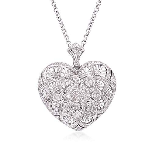 Ross-Simons 0.25 ct. t.w. Diamond Filigree Heart Pendant Necklace in Sterling Silver