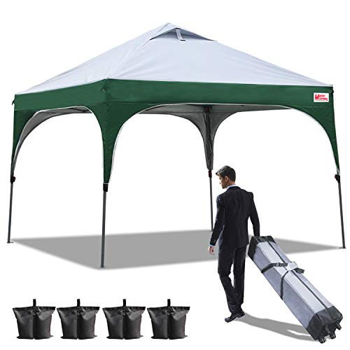 MASTERCANOPY Pop Up Canopy Easy to Set 10'x10′ Better Air Circulation Canopy with Wheeled Backpack Carry Bag+4 x Sandbags,Beach Canopy Tent 10×10(Grey with Green) Review