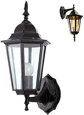 CattleBie Hierro Fundido rústica lámpara de pared Pasillo del aplique de la lámpara de pared Negro impermeable de la luz de la vendimia aluminio al aire libre de cristal de la lámpara al aire libre de
