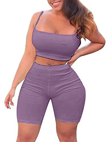 2 Piece Lavender Dress - TOB Women's Bodycon 2 Pieces Outfit Spaghetti Strap Crop Tank Top Shorts Pants Lavender