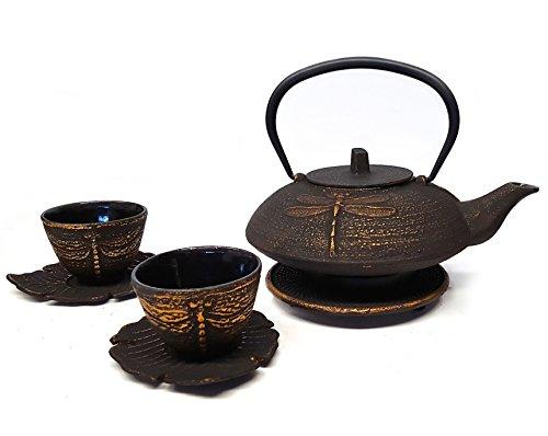 Happy Sales Cast Iron Tea Set Dragonfly Black & Gold