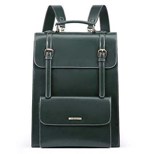 ECOSUSI Laptop Backpack for Women PU Leather Backpack Vintage for Laptop 15.6 inches School Bag College Bookbag, Green