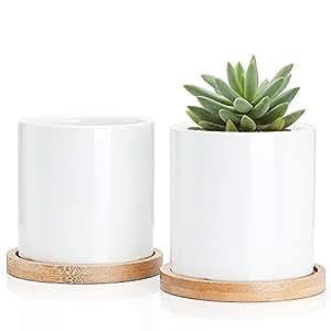 greenaholics macetas–Macetas de cerámica maceta de jardín macetas, pequeño, cilíndrica con orificio de drenaje, bandeja de bambú, juego de 2, blanco