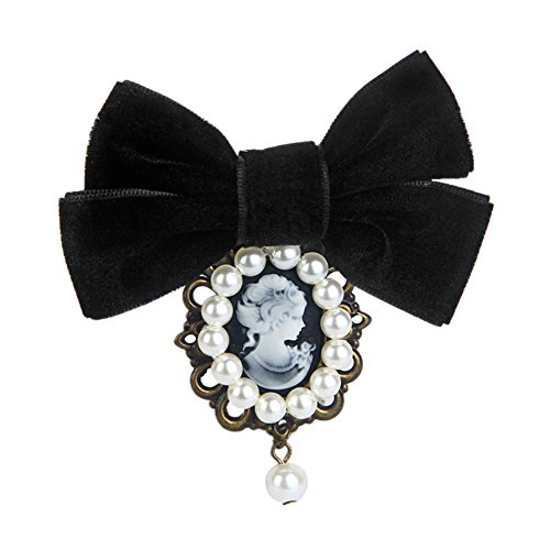 80HOU Women Cameo Pearl Brooch Velvet Bow Coat Jacket Sweater Lapel Collar Pin-Black by 80HOU