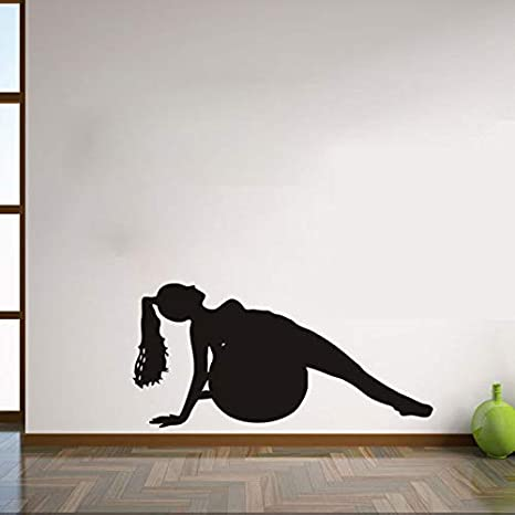 Health Girl Play Yoga With Ball wall Stickers Home Decor ...