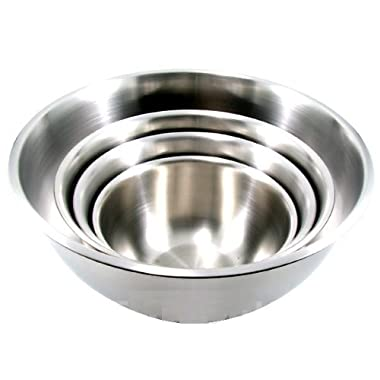 (Set of 4) Large Stainless Steel Mixing Bowls Standard Weight, Mirror Finish, 13, 16, 20, and 30 Qt.